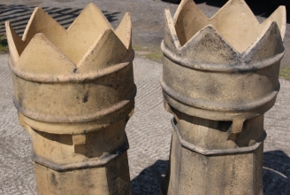 Victorian buff crown chimney pots