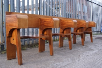 Teak lecture hall benches