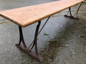 Victorian wrought iron & oak topped bench