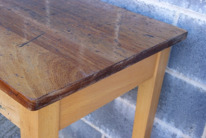 Teak Top School Tables With Beech Tapered Legs