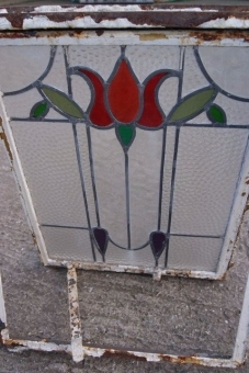 Framed Art Nouveau leaded lights