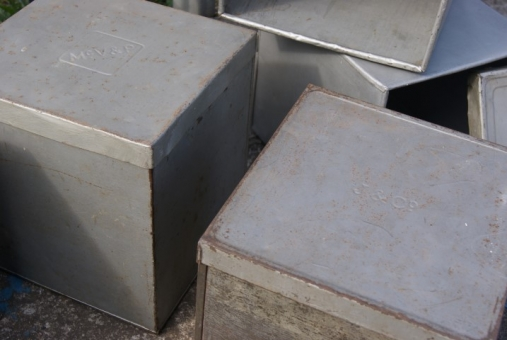 Galvanised zinc storage boxes